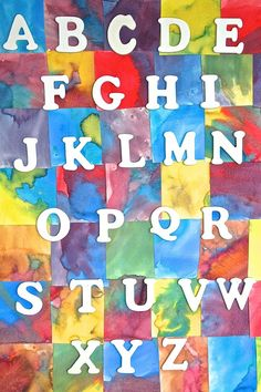Gorgeous Homemade Watercolor Alphabet Chart  This would look beautiful hanging in a playroom, bedroom or classroom!  (www.homegrownfriends.com)