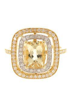 Two-Tone White Diamonds & Yellow Beryl Cushion Ring by Savvy Cie on @HauteLook