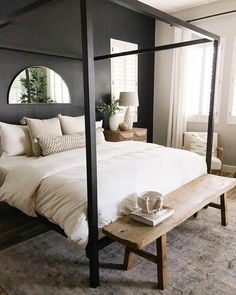 homedecor bedroom Modern and chic bedroom ideas with a black accent wall and framing. Pair it all up and bring life into your room with a light wooden bench, side table and chair. Master Bedroom Design, Bedroom Inspo, Dream Bedroom, Home Decor Bedroom, Master Suite, Master Master, Warm Bedroom, Chic Bedroom Ideas, Bedroom Design Inspiration