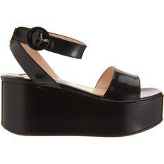 Prada Single Band Flatform Sandal ($750) ❤ liked on Polyvore