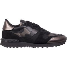 Valentino Garavani Rockrunner camouflage sneakers (9.664.690 IDR) ❤ liked on Polyvore featuring shoes, sneakers, black, camouflage footwear, valentino sneakers, kohl shoes, black sneakers and black shoes