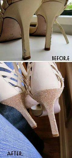 Glitter na cor do sapato para disfarcar arranhados