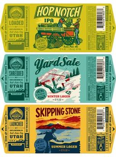 I like the flexibility of having different graphics/fonts (to allow for seasonals, or one-offs) - but enough similar elements that you can tell it's from the same brewery. Branding And Packaging, Beer Packaging, Beverage Packaging, Packaging Design, Craft Beer Brands, Craft Beer Labels, Design Package, Brewery Logos, Design Food