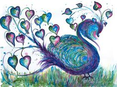 Peacock Teal Fantasy Watercolor    by CheyAnneSexton