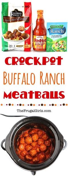 Crockpot Meatballs Buffalo Ranch Recipe! Just 3 ingredients!! So EASY to make, and can be served straight out of your Crock Pot as a party appetizer or game day snack!   TheFrugalGirls.com