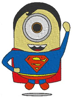 Hey, I found this really awesome Etsy listing at https://www.etsy.com/listing/208721790/minion-superman-despicable-me-embroidery