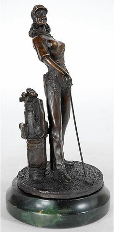 Energetic Bronze Lady And Wolf Signed And With Marble Base Other