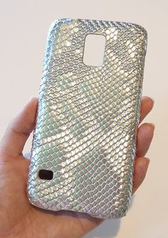 Samsung Galaxy S 5 s5 i9600 Metallic Silver Snake Cell by Yunikuna, $35.00