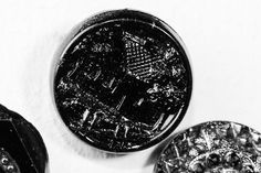 Pre-1918 Glass Pictorial Button: House with Trees & Fence