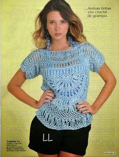60beb42cfe Blusa Azul em Crochê de Grampo por Vilma Maurer ( receita e gráficos )