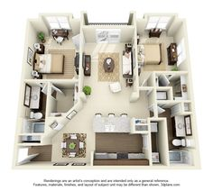 Newcastle Floor Plan: 2 bd / 2 ba - 1204 Sq. Ft. to 1226 Sq. Ft.