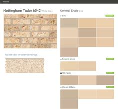Nottingham Tudor 6042. White-Gray. Brick. General Shale. Behr. Benjamin Moore. PPG Paints. Sherwin Williams.  Click the gray Visit button to see the matching paint names.