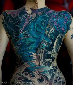 Koi back tattoo