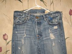 HOLLISTER mens 34-32 button fly front DESTROYED\ blue jean