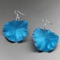 Blue #Anodized #Aluminum Lily Pad Earrings - Large. A great color blocking accessory!   http://www.johnsbrana.com/blue-anodized-aluminum-lily-pad-earrings-large.html  $65.00