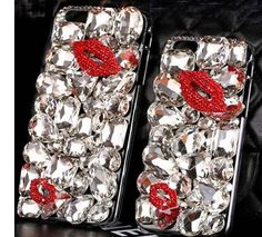 3D Luxury Bling Crystal Lips Phone Case Cover For Iphone6 6S Plus Case Diamond Cover