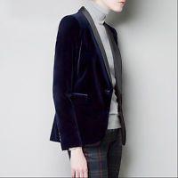 Womens Fashion Gold velvet One Button Slim Fit Suit Blazer Coat Jacket Outwear