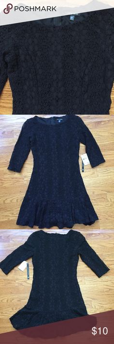 "Short black lace dress / tunic Very pretty As U Wish black lace dress from Nordstrom rack. Dress is cotton / nylon with a poly lining for body of dress and zippered back. Sleeves are 3/4 and are lace without lining.  Could be worn as a tunic with leggings too.  Length is 30"", chest is 14"" and back hem is uneven. As U Wish Dresses Mini"