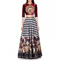 Falguni & Shane Peacock Black Striped Skirt Merged With Floral And Baroque Border