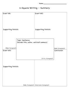 53 best Four Square Writing images on Pinterest | Writing activities ...