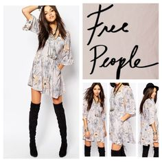 "Free People Eyes On You Mini Dress.  NWT. Free People Eyes On You Floral Mini Dress, 100% rayon, machine washable, 17"" armpit to armpit (34"" all around), 11"" arm inseam, 32.5"" length, lightweight floral print fabric, round neckline, cropped cuffs, pleated flared details accents the breezy silhouette, fluttering sleeves, skin-bearing insets of lace, side zipper, back button closure, fully lined, three-quarter sleeves, measurements are approx.  ...No Trades... Free People Dresses"