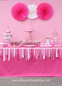 Cake/treat table  Ribbons on edge of table are cute