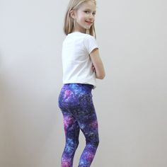 a1b8c7c6d9aa7 Girls leggings purple galaxy Purple leggings for toddler Purple leggings  Baby leggings star Leggings print for girls Organic cotton leggings