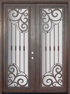 "Barcelona Full Lite Double Wrought Iron Door 8' 0"" Tall - Shown with antique copper bronze finish and clear glass."