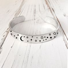 Items similar to Moon And Star Bracelet /Galaxy Cuff /Engraved Cuff Bracelet/ Personalized Engraved Bracelet Engraved Cuff on Etsy Sterling Silver Name Necklace, Silver Earrings, Silver Jewelry, Silver Necklaces, Silver Ring, 925 Silver, Ankle Bracelets, Beaded Bracelets, Silver Bracelets For Women