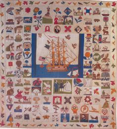 """The Constitution Quilt, 1880. """"Old Ironsides."""" Maker unknown."""