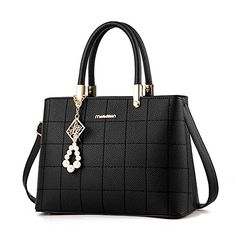 01686cf907 Ladies Shoulder Bag Faux Leather Checkered Tote Handbag for Women Cross  Body Purse (Black)