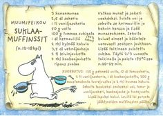Moomintroll's Chocolate Muffins ————– Ingredients: 3 eggs 2 ½ dl sugar 1 tsp vanilla powder 50 g butter 100 g dark chocolate % cocoa) 1 dl sour cream 2 tbsp cold coffee (liquid) 3 ½ dl wheat. Moomin Shop, Finnish Recipes, Cream Of Wheat, Tove Jansson, Kind Person, Baking With Kids, Chocolate Muffins, Old Recipes, Muffin Recipes