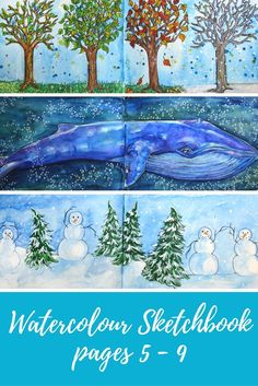 Watercolour Sketchbook pages 5-9 - Artfully Creative Life