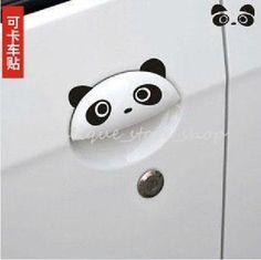 4PCS Cute New Personality Panda Funny hummor doorknob handle car stickers Decals