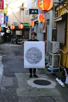 "Japanese manhole cover art prints by French-born designer and illustrator David Robert. David travels around Japan making tracings of some of the more beautiful manhole covers he finds. He considers them ""souvenirs"" of the different places he's visited. www.japanesemanholecovers.tumblr.com"