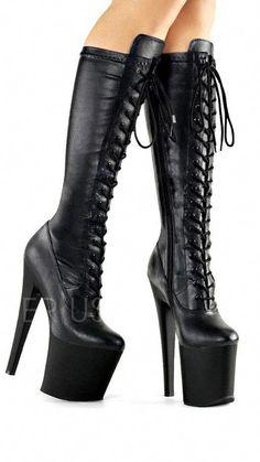 Platform High Heels, Black High Heels, High Heel Boots, Shoes Heels Boots, Heeled Boots, Platform Boots, Ankle Boots, Black Lace Boots, Sexy Boots