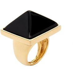 Kenneth Jay Lane Polished Gold Black Pyramid Ring ($46) ❤ liked on Polyvore featuring jewelry, rings, black, polish rings, kenneth jay lane, gold jewellery, yellow gold rings and gold rings