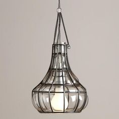One of my favorite discoveries at WorldMarket.com: Blown Glass Bottle Pendant   A new and much needed twist on the  bare bulb in glass fixtures that have cropped up everywhere - the visual interest added by the ironwork is a welcome addition.