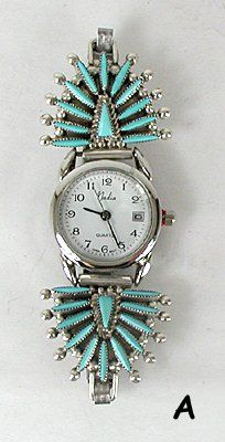 Hand made Native American Indian Jewelry; Zuni Sterling Silver Watch