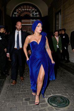 GAGA MAMA drapped in royal blue & velvet.