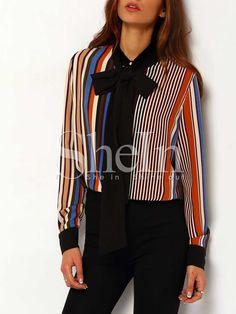 Multicolor Tie Neck Vertical Striped Blouse 18.99
