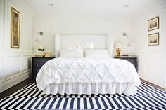 Pintuck white bedding. Perfection.    6th Street Design School: Feature Friday: White + Gold Design
