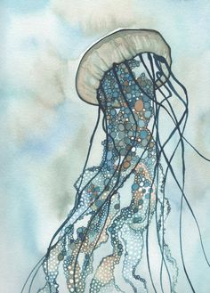 JELLYFISH Three 5 x 7 print in turquoise blue green earth tones, amazing whimsy bubble world home wall decor, with tentacle extensions