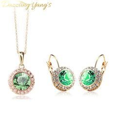 DAZZLING YANG'S  Fashion White Gold Plated Crystal Pendants Necklace Earrings Wedding Accessories Jewelry Sets For Women <3 Find out more by clicking the VISIT button