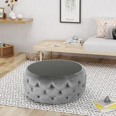 """Three Posts™ Manford 32"""" Wide Genuine Leather Round Storage Ottoman & Reviews   Wayfair Ottoman Table, Upholstered Dining Chairs, Corner Sectional, Sectional Sofa, Chesterfield Sofa, Sleeper Sofa, Ellesse, Bedroom Reading Nooks, Swivel Barrel Chair"""