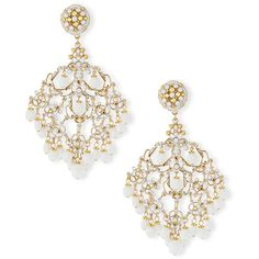Jose & Maria Barrera 24k-Plated Filigreed Chandelier Clip Earrings w/... ($455) ❤ liked on Polyvore featuring jewelry, earrings, gold, filigree jewelry, clear earrings, chandelier earrings, earring jewelry and clear jewelry