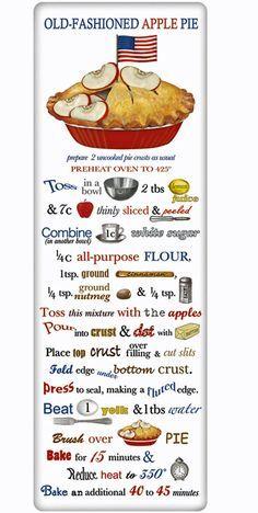 Patriotic Apple Pie Recipe 100% Cotton Flour Sack Dish Towel Tea Towel