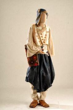 "Men's clothing Skyros, known as ""tsopaniki"", - century. Greek Traditional Dress, Traditional Outfits, Folk Clothing, Greek Clothing, Greece Culture, Greece Fashion, Greece Holiday, Folk Costume, Men Dress"