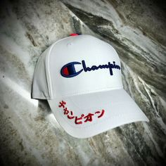 Kanji Japanese, Champion Logo, Cool Hats, Blue Accents, Red And Blue, Baseball Hats, Women, Champs, Dope Hats