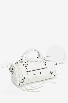 Vintage Balenciaga White Leather Mini Bag